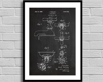 Valve Handle Patent Valve Handle Patent Poster Valve Handle Blueprint Valve Handle Print Plumber Gift Handyman Gift Home Decor Vintage p695