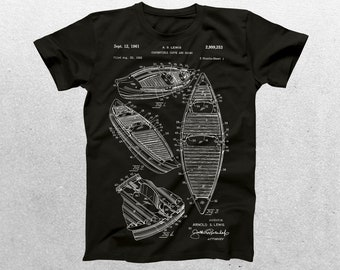 Canoe Patent T-Shirt, Kayak Blueprint, Patent Print T-Shirt, Sports Gift, Kayaking Gift, Athlete Gift, Outdoors p069