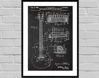 Gibson Electric Guitar Poster, Gibson Electric Guitar Patent, gibson Guitar Print, gibson Electric Guitar Decor, gibson p805