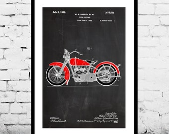 Harley Motorcycle Blueprint Patent Poster, Wall Art Poster, Harley Motorcycle Print, Wall Art Poster, Patentprints, Harley Motorcycle, p1118