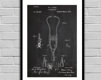 Vintage Stethoscope Poster Stethoscope Patent Stethoscope Art Medical Art Stethoscope Wall Art Stethoscope Blueprint Doctor Art p325
