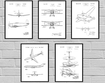 Airplane Patent SET of 5 Aircraft Poster Airplane Art Aviation Decor Airplane Wall Art Airplane Blueprint Aviation giftsPilot SP421