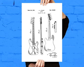 Fender Bass Guitar Poster,Fender Bass Guitar Patent,Fender Bass Guitar Decor, Fender Bass Guitar Print, Fender Bass Guitar Blueprint, p771