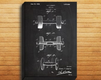 CANVAS  Dumbbell Art Dumbbell Print Dumbbell Patent Dumbbell Decor Dumbbell Blueprint Dumbbell Wall Art p100