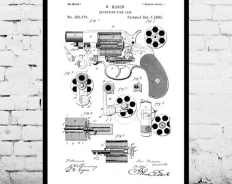 Revolving Fire Arm Print Revolving Fire Arm Poster Revolving Fire Arm Patent Revolving Fire Arm Decor Revolving Fire Arm Blueprint p1285