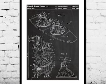Wakeboard Poster, Wakeboard Patent, Wakeboard Print, Wakeboard Setup Art, Wakeboard Decor, Wakeboard Wall Art, Wakeboard Blueprint p898