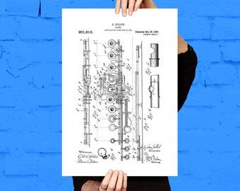 Flute Print Flute Poster Flute Patent Flute Art Flute Decor Flute Blueprint Flute Wall Art Musical Instrument Decor p127