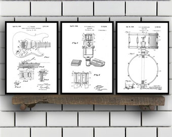 Rock n Roll Patent Set of 3,  Rock n Roll  Patent, Music Instrument Prints, Rock n Roll  Gifts, Musician Wall Decor, Music Wall Art SP207
