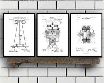 Tesla Patent Set of THREE, Tesla Electrical Transmitter Patent, Tesla Poster, Tesla Transmitter Print, Tesla Patent, Tesla Inventions Sp122
