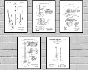 Guitar Patents Set of 5 Prints Guitar Prints Guitar Posters Guitar Blueprints Guitar Art Guitar Wall Art Guitar  Guitar gift sp477