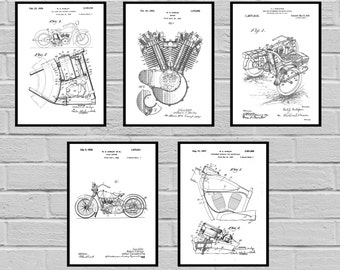 Harley Davidson Patent Set of 5 motorcycle prints  Harley Poster  Harley Davidson Motorcycle  Harley Engine  Harley  Motorcycle sp430