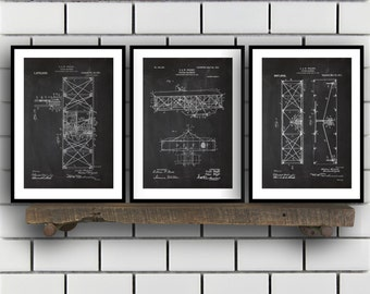 Wright Brothers Related Patent Set of THREE, Wright Brothers Invention Patent, Airplane Poster, Airplane Print,Airplane Inventions SP188
