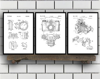 Camera Patent Prints, Camera Set of THREE, vintage Camera Invention Patent, Camera Poster, Camera Print, Camera, Camera Bag SP267