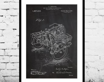 Motorcycle Sidecar Print, Sidecar Patent, Sidecar Poster, Sidecar Art, Sidecar Blueprint, Sidecar Decor, Sidecar Wall Art, p1147