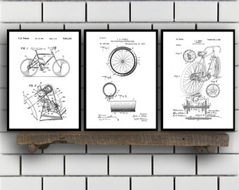 Bicycle Patent, Bicycle Set of THREE, Bicycle Invention Patent, Bicycle Poster, Bicycle Print, Bicycle Inventions SP253