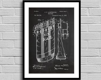 Mailbag Patent Mailbag Patent Poster Mailbag Blueprint Mailbag Print Postal Collectible patent art postman mail delivery p1326