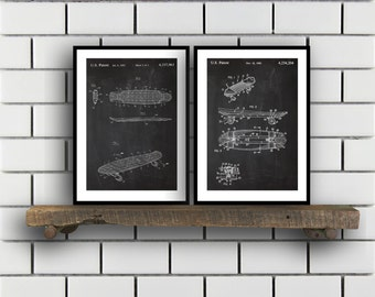 Skateboard Patents Set of 2 Prints Skateboard Prints Skateboard Posters Skateboard Blueprints Skateboard Art Skateboard Wall Art Sp402