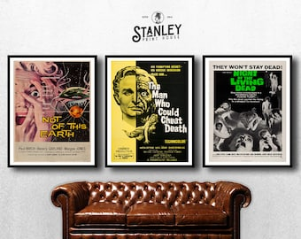 MOVIE poster set of 3 vintage night of the living dead Classic Horror space poster Poster Art Vintage Print Art Home Decor sp600