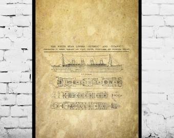 R.M.S. Titanic Patent R.M.S. Titanic Poster R.M.S. Titanic Blueprint  R.M.S. Titanic Print R.M.S. Titanic Art R.M.S. Titanic Decor p414