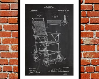 Vintage Wheelchair Print Vintage Wheelchair Poster Vintage Wheelchair Patent Vintage Wheelchair Wall Art Vintage Wheelchair Design p327