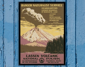 National Park Poster - Vintage Prints - Vintage National Park - Lassen Volcanic National Park - Lassen Park 164