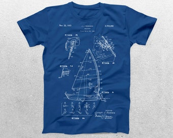 Sailboat Patent T-Shirt, Sailboat Blueprint, Patent Print T-Shirt, Nautical Shirt, Sailing Enthusiast, Sailor Gifts p253