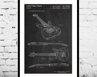 Electric Guitar Patent, Guitar Poster, Recording Studio, Musician Gift, Gift for dad, Home Decor, Teen decor, Gifts for him, Guitar p767