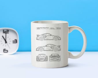 Porsche patent mug  coffee mug  coffee lover  patent art  patent mug  Auto Gifts Car Decor Vintage Gifts for Him Sports CarM125 sp1003
