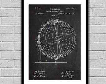 Globe Print Globe Poster Globe Patent Globe Decor Globe Wall Art Globe Blueprint Spinning Globe Decor p143