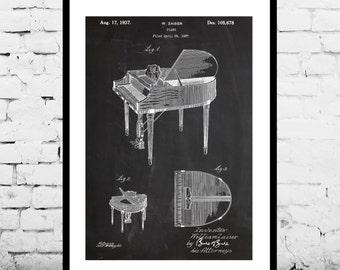 Piano Patent Poster, Music Room Decor, Piano Art, Musician Gifts, Piano Blueprint, Piano Wall Art p843