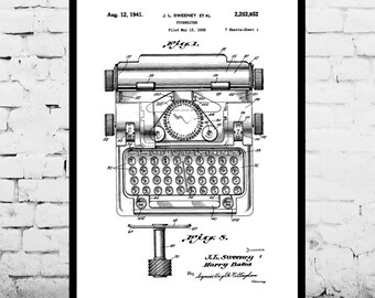 Typewriter Print Typewriter Poster Typewriter Patent Typewriter Decor Typewriter Art Typewriter Wall Art Typewriter Blueprint p024