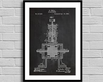 Tesla Steam Engine Patent Steam Engine Patent Poster Steam Engine Blueprint Steam Engine Print Engineer Gift Technology Science Decor p749