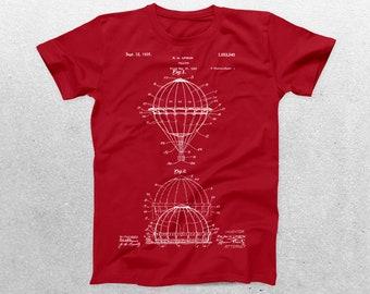 Hot Air Balloon Patent T-Shirt, Hot Air Balloon Blueprint, Patent Print T-Shirt, Hot Air Balloon Shirt, Balloonist Shirt p615