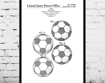 Soccer Ball Poster, Soccer Ball Print, Soccer Ball Patent, Soccer Ball Art, Soccer Ball Decor, Soccer Ball Blueprint, Soccer Decor p869