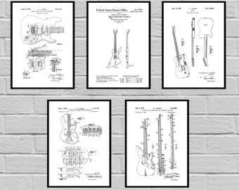 Guitar Patents Set of 5 Prints Guitar Prints Guitar Posters Guitar Blueprints Guitar Art Guitar Wall Art Guitar  Guitar gift sp475