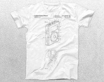 Apple iPod Patent T-Shirt, iPhone Blueprint, Apple iPod Print T-Shirt, iPhone Shirt, Technology Shirt, Apple iPod Shirt p179