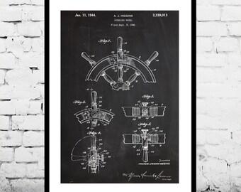 Steering Wheel Print Ship Steering Wheel Poster Ship Steering Wheel Patent Nautical Print Nautical Decor Steering Wheel Art p261