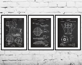 Kitchen Accessories Poster, Kitchen Decor Patent, Kitchen Prints, Kitchen Gifts, Kitchen Art, Kitchen Wall Decor, Set of Three Patent SP577