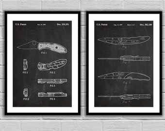 Spyderco Knife Inventions  Set Of Two Knife Patent Prints Spyderco Knife ArtSpyderco Knife Wall Art Knife Patent Knife Patent Print sp515