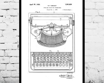 Typewriting Machine Patent Typewriting Machine Poster Typewriter Blueprint  Typewriter Print Typewriter Art Typewriter Decor p307