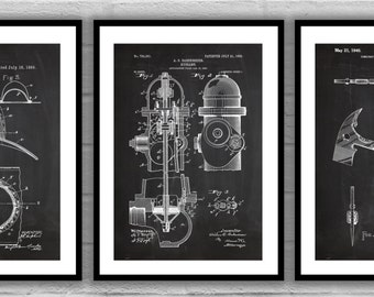 Firefighter Patent Set of 3, Firefighter Poster, Firefighter Art, Firefighter Decor, Firefighter Wall Art, Firefighter Blueprint, SP576