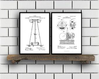 Tesla Patent Set of TWO Tesla Electrical Transmitter Patent Tesla Poster Tesla Transmitter Print Tesla Patent Tesla Inventions SP121