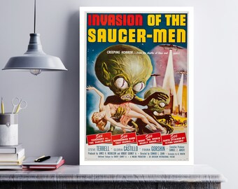 MOVIE poster vintage Invasion Of The Saucer Men Classic Horror space poster Poster Art Vintage Print Art Home Decor movie posterSci Fi sp620