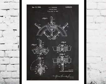Ship Steering Wheel Patent Ship Steering Wheel Poster Ship Steering Wheel Blueprint  Ship Steering Wheel Print Steering Wheel Decor p261