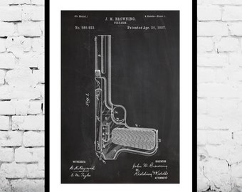 J.M. Browning Firearm Art J.M. Browning Firearm Patent J.M. Browning Firearm Print J.M. Browning Firearm Poster Gun art p1277