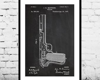 J.M. Browning Firearm Art J.M. Browning Firearm Patent J.M. Browning Firearm Print J.M. Browning Firearm Poster Gun art p1277