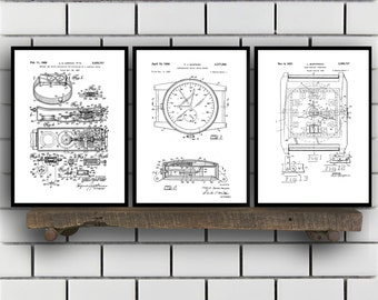 Watch Patent Set of THREE, Watch Invention Patent, Wrist watch Poster, Watch Print, Timepiece Patent, Watch Inventions SP126