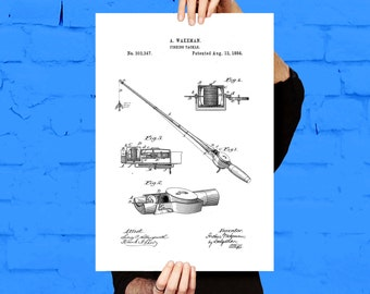 Fishing Rod Print, Fishing Tackle Poster, Fishing Rod Patent, Fishing Rod Art, Fishing Rod Blueprint, Fishing Rod Art, Fishing Decor p021