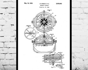 Compass Print Compass Patent Compass Poster Compass Art Compass Wall Art Compass Blueprint Compass Decor p512