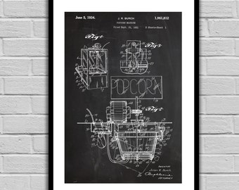Popcorn Machine Patent Popcorn Machine Poster Popcorn Blueprint Popcorn Print Popcorn Machine Art Popcorn Machine Decor p1037